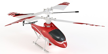 3d radio controlled helicopter model on white background photo