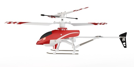 aerobatics: 3d radio controlled helicopter model on white background