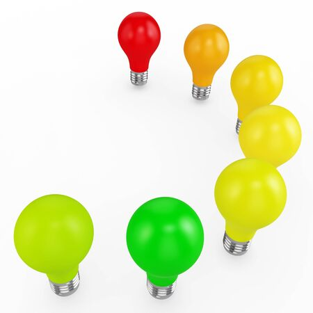 norm: 3d energy efficiency concept with light bulbs on white background