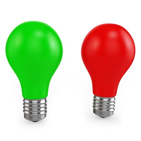consuming: 3d red and green light bulbs on white background Stock Photo