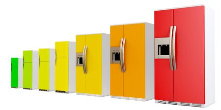 energy classification: 3d energy efficiency concept with fridges on white background