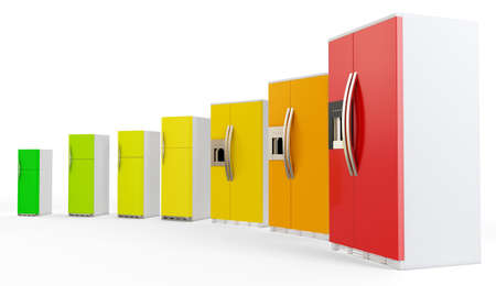 norm: 3d energy efficiency concept with fridges on white background