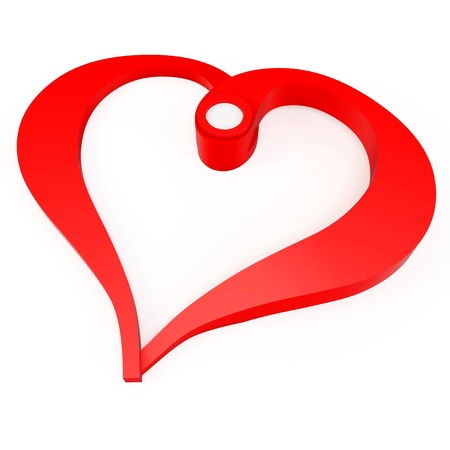 linked: 3d valentines day heart shape  on white background