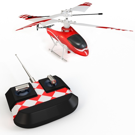 3d radio controller remote and helicopter on white background photo