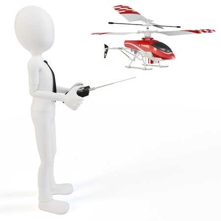 helicopter pilot: 3d man Piloting Radio controlled helicopter with remote control Stock Photo