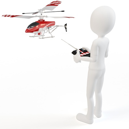 radio active: 3d man Piloting Radio controlled helicopter with remote control Stock Photo