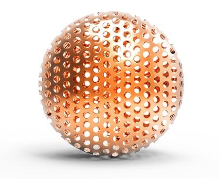 3d ball: 3d metallic bronze sphere on white background Stock Photo