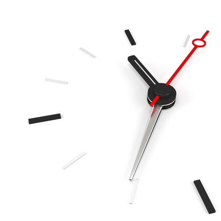 last minute: 3d clock time concept on white background