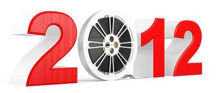 futurist: 3d Twenty Twelve year with movie reel on white background