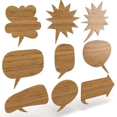 thought bubbles: 3d wooden text bubbles collection on white background