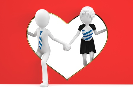 puppet woman: 3d man and girl lovers with a heart shape cutout Stock Photo