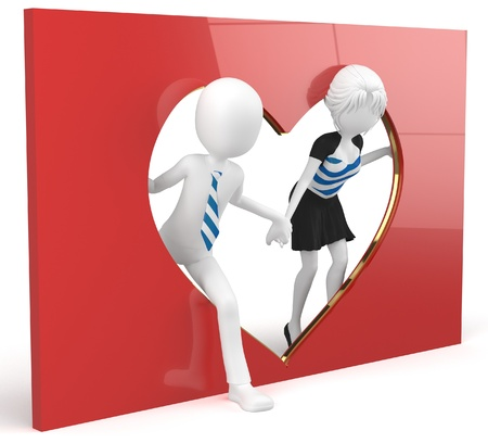 3d man and girl lovers with a heart shape cutout photo