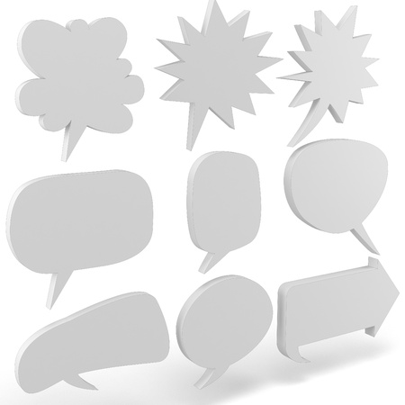3d blank text bubbles collection on white background photo