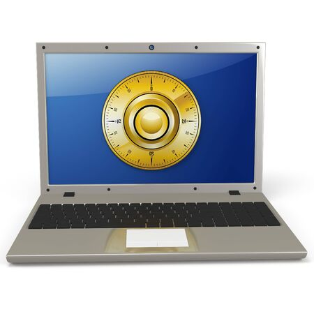 3d laptop with  combination wheel protection of digital data concept photo
