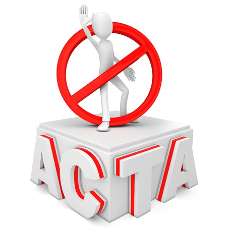 3d man protesting stop acta on white background Imagens
