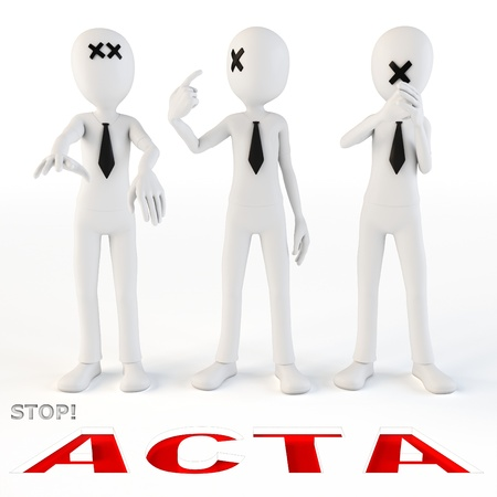 3d man protesting stop acta on white background Banco de Imagens