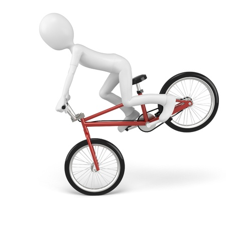 treadle: 3d man with generic stunt bike on white background