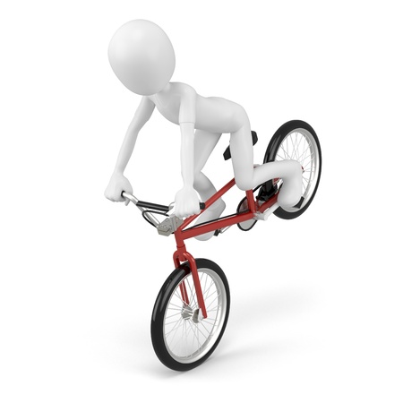 3d man with generic stunt bike on white background photo