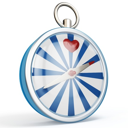 finding love: 3d compass finding love on white background