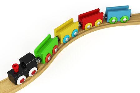 juguetes antiguos: Tren de juguete de madera 3d en backgound blanco Foto de archivo