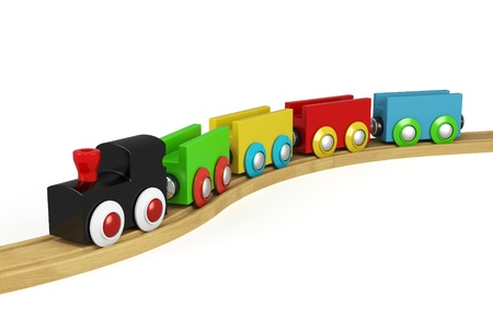 loco: 3d wooden toy train on white backgound