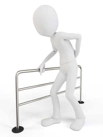 back ache: 3d man body language concept