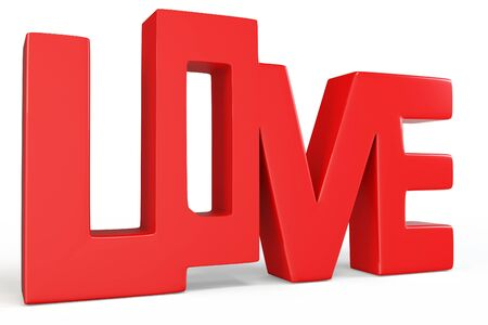 3d valentines day love text on white background photo