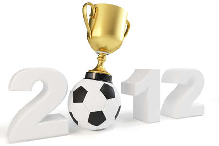 3d cup 2012 with a soccer ball concept photo