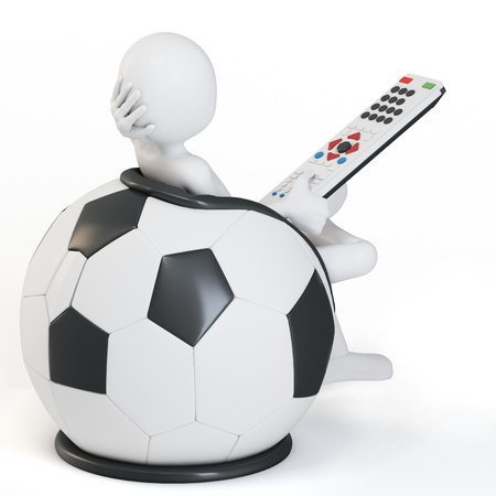 futurist: 3d man football chair with remote on white background Stock Photo