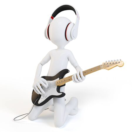 music figure: 3d man rocking his guitar on concert with headphones Stock Photo