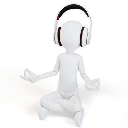 3d man with headphones relaxing on white background photo