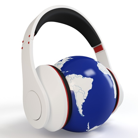 3d earth globe with  headphones on white background photo