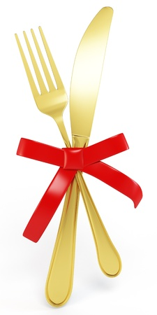 serving utensil: 3d golden Knife and fork with red bow on white background