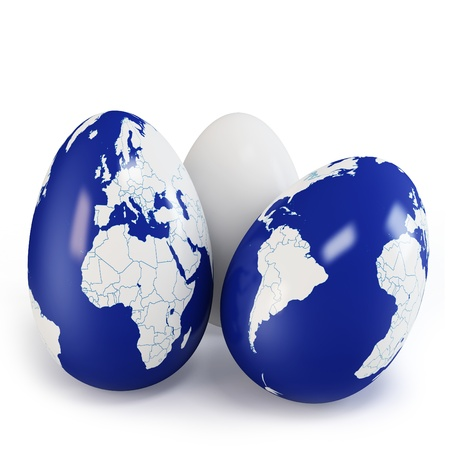3d eggs with world earth texture on white background photo