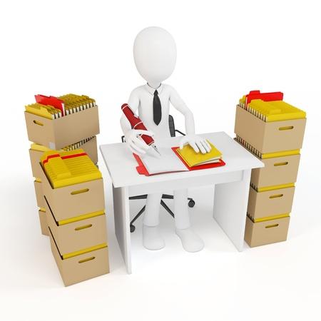 Affaires homme 3d avec des tonnes de travail à faire sur fond blanc Banque d'images