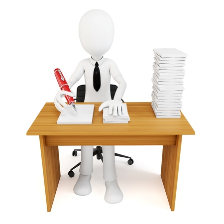 overworked: 3d man businessman with tons of work to do on white background