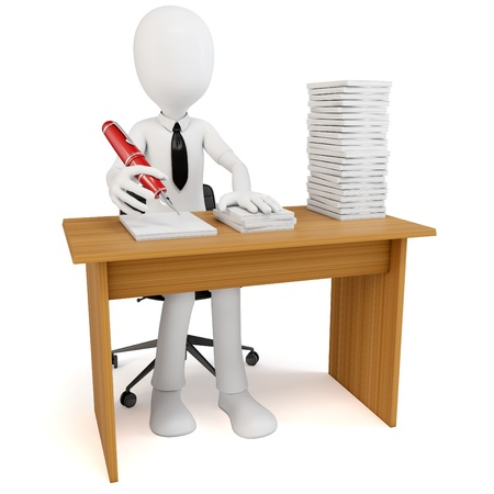 tons: 3d man businessman with tons of work to do on white background