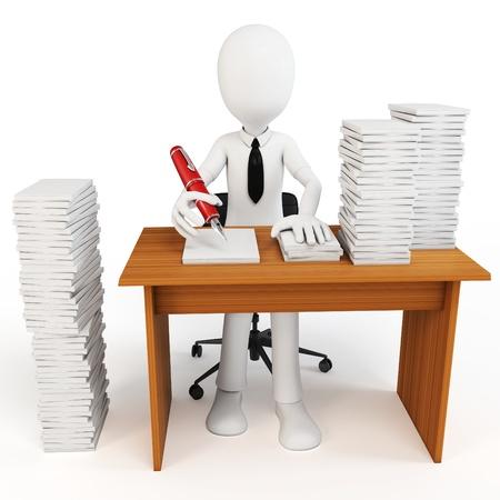 3d homme d'affaires avec des tonnes de travail à faire sur fond blanc Banque d'images
