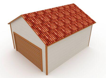 garage door: 3d building generic rendered  on white  background