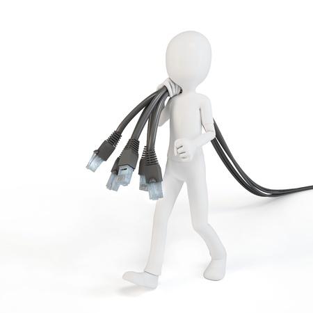 Cable network: 3d hombre con cables de red en el fondo blanco