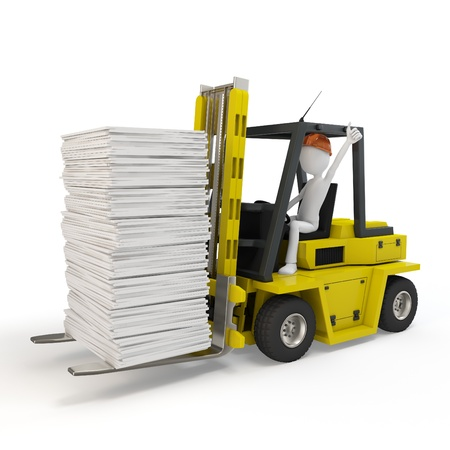 reach truck: 3d man with forklift carrying stuff on white background