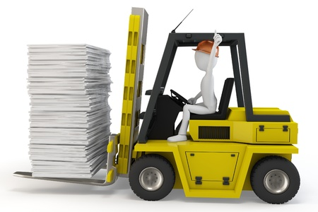 service lift: 3d man with forklift carrying stuff on white background