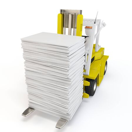 work load: 3d man with forklift carrying stuff on white background