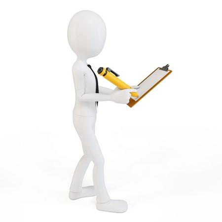 certification: El hombre de negocios 3d con portapapeles y l�piz sobre fondo blanco