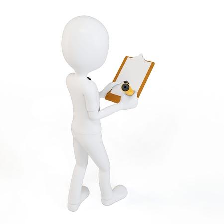 3D man zakenman met klembord en pen op een witte achtergrond