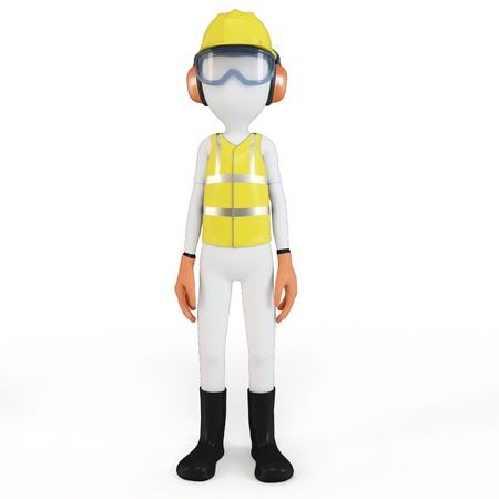 protective: 3d man with safety equipment on white background