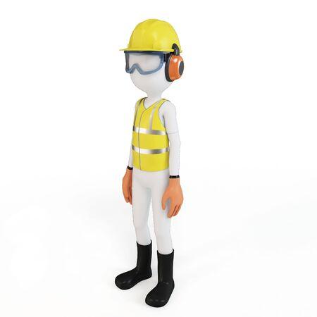 3D man met de veiligheidsvoorzieningen op een witte achtergrond