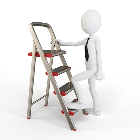 to ascend: 3d man climbing a small ladder on white background