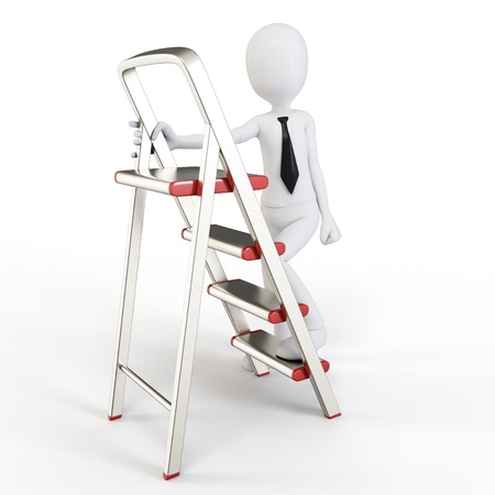3d man climbing a small ladder on white background Stock Photo - 12771490