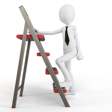 grey scale: 3d man climbing a small ladder on white background